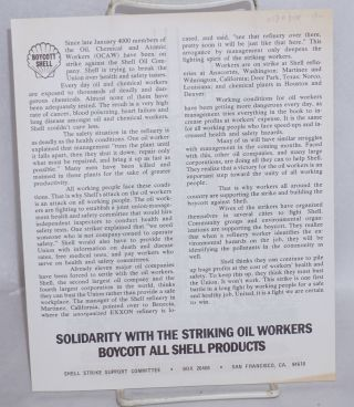 Shell tries to bust the union. 4000 Shell Oil workers strike for health and safety [handbill]