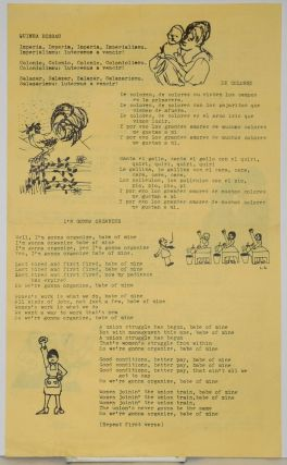 Sing-along sheet with lyrics to six feminist, anti-imperialist songs includes Ginuea Bissau, De Colores, I'm Gonna Organize, I Don't Wanna Live a Life That Leaves Me Lonely & Children of Babylon