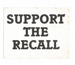 Support the Recall [sticker]. White Panther Party