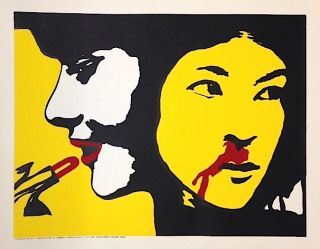 [Poster depicting an American woman donning lipstick while a Vietnamese woman bleeds from her nose]