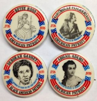 [Set of four pins celebrating women in the American Revolution]