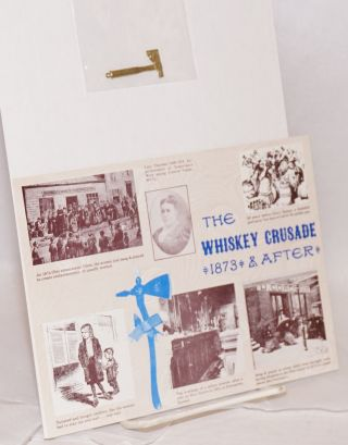 [Brass axe pendant worn by supporters of anti-alcohol activist Carry Nation, with later postcard of her home]