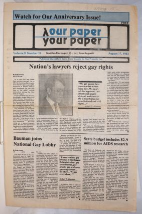 Our Paper, Your Paper; the gay family paper of the Santa Clara Valley; vol. 2, #16, August 17,...