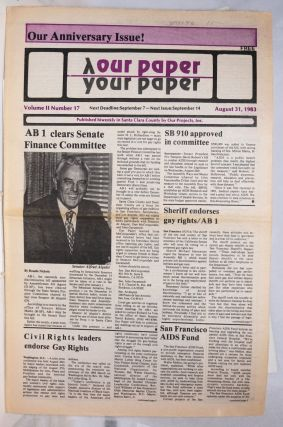 Our Paper, Your Paper; the gay family paper of the Santa Clara Valley; vol. 2, #17, August 31,...