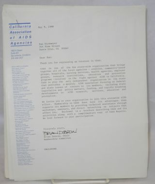 California Association of AIDS Agencies [information packet and cover letter] [signed
