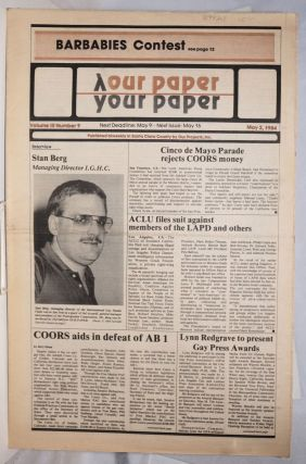 Our Paper, Your Paper; the gay family paper of the Santa Clara Valley; vol. 3, #9, May 2, 1984....