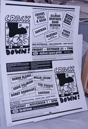 Crack Down! [poster for events featuring RUN DMC, Santana, Tito Puente, Crosby Stills and Nash,...