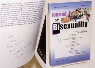 Journal of bisexuality; volume 1, number 1. Fritz Klein