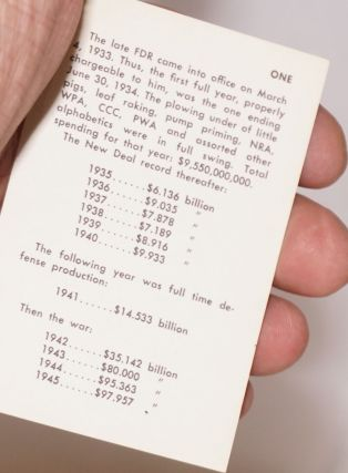 Wallet card outlining the rise in spending under the New Deal and the subsequent fall in...