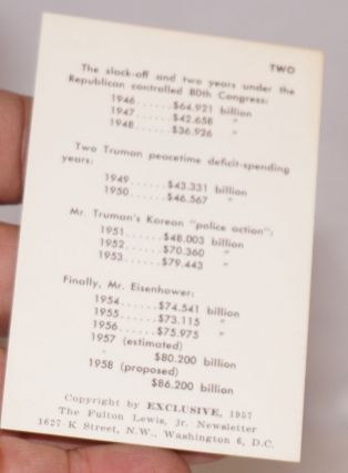 [Wallet card outlining the rise in spending under the New Deal and the subsequent fall in government spending under the Republicans, rising again under Eisenhower]