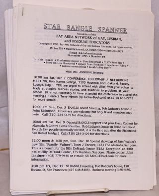 The Star Bangle Spanner: newsletter of the East Bay chapter of the Bay Area Network of Gay and Lesbian Educators (BANGLE) [32 issue broken run of the newsletter #1 -40, March 1992 - August 1997]