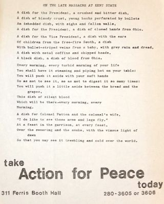 On the late massacre at Kent State [poetry handbill]. Action for Peace