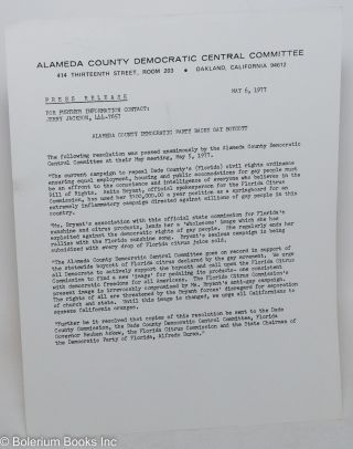 Press Release: Alameda County Democratic Party backs Gay boycott [handbill] May 6, 1977. Jerry...