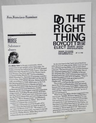 Do the right thing / Boycott Miller, Helms / Elect Gilbert Baker, Whitefeather La Lash / Parade...