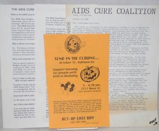 Four handbills relating to H.R. 4370 and Congressman Pete Stark. AIDS Cure Coalition ACT-UP East...