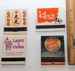 Four matchbooks from San Francisco Chinatown restaurants