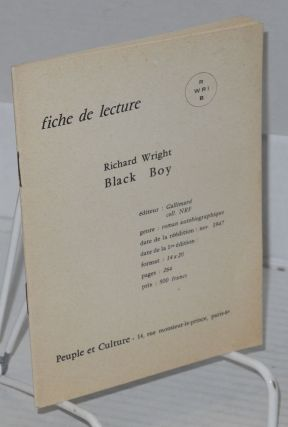 fiche de lecture Richard Wright Black Boy