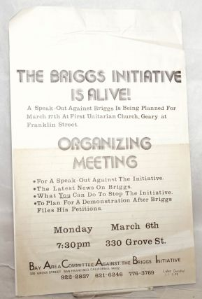 The Briggs Intitiative is Alive! [handbill] plus sign-up sheet for Boycott of Coors Beer