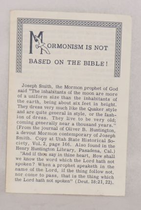 Mormonism is not based on the Bible! Tom Adcock