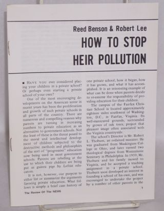How to stop heir pollution. Reed Benson, Robert Lee