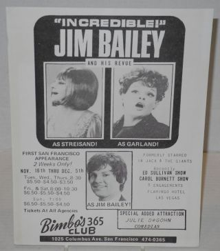 Incredible! Jim Bailey and his revue: as Streisand! as Garland! as Jim Bailey! [handbill] First...
