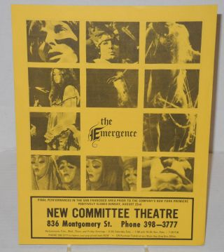 The Emergence [handbill]. The Company Theatre, the New Committee Theatre