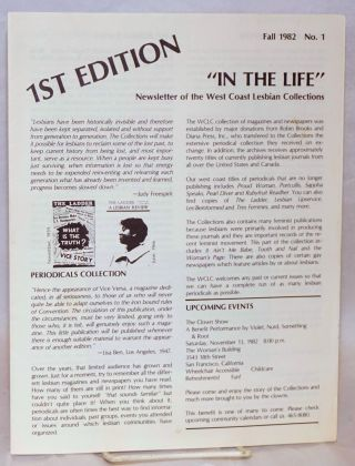 In the Life: newsletter of the West Coast Lesbian Collections; #1, Fall 1982: 1st edition
