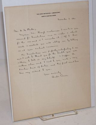 Handwritten letter on letterhead of the Ames Botanical Laboratory, thanking William Wilson Baker...