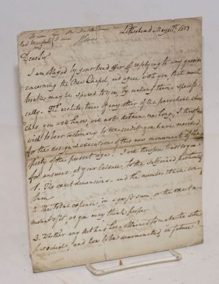 Letter discussing the design of a New Chapel]. James Dallaway