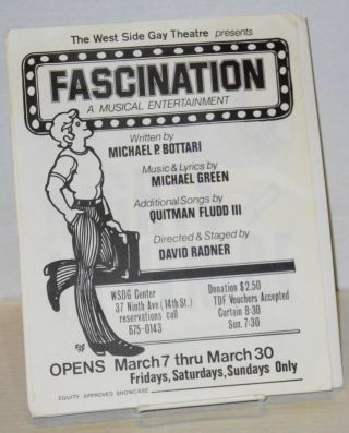 Four handbills for productions at the West Side Center: Fascination, a musical entertainment, Gay nights in Venice, Psychology and the gay individual lecture, & the Annual Gaylord Awards dinner