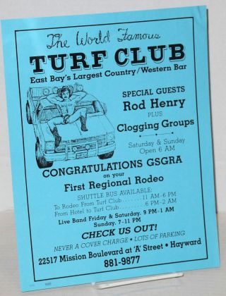 The world famous Turf Club: East Bay's largest country/western bar [handbill] special guests Rod Henry plus Clogging Groups