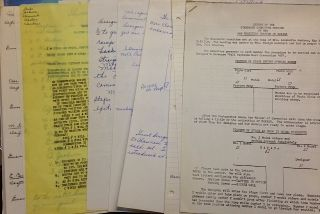 Packet containing thirteen pages of mimeographed, handwritten, and typed reports and sketches in...