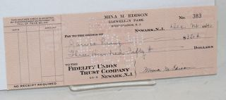 Check for $350 written to John Laing]. Mina M. Edison