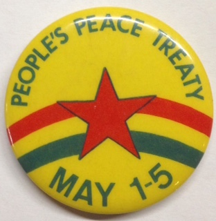 People's Peace Treaty / May 1-5 [pinback button