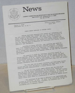 News: a newsletter, vol. 2, #4, April 1970. Cabinet Committee on Opportunities for Spanish...