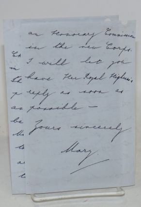 Four-page letter written by Princess Mary on Harewood House stationery about an honorary...