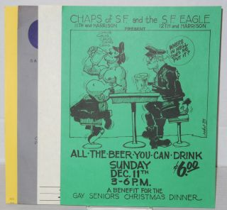 Four handbills from Chaps bar in San Francisco. Robert Kalthoff, illustrations.