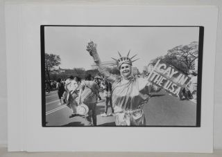 Seven glossy b&w photographs of gay pride events. Jack Rosen Impact Visuals, Jim Saah, Donna...