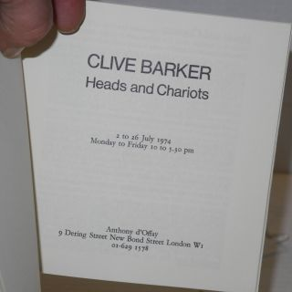 Clive Barker: heads and chariots; 1 to 26 July 1974, Monday to Friday 10 to 5:30 pm
