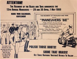 Attention! The Regiment of the Black and Tans announces the 13th Annual Maneuvers - 29 and 30...