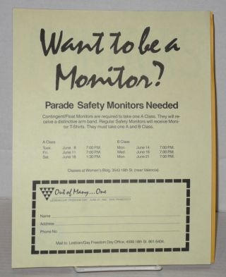 Six safety monitor fliers/handbills for Lesbian/Gay Freedom Day parades 1982-1989. Lesbian/Gay Freedom Day.