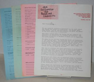1979 Gay Freedom Day Parade & celebration applications and press release [four items]. Gay...