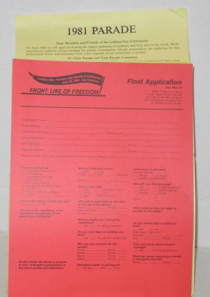 1981 Gay Freedom Day Parade & celebration applications, guidelines, and press release [nine items]