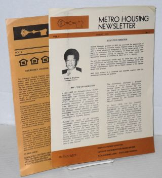 Metro Housing newsletter: vol. 1, #s 1 & 2, August, October/November 1975 [first two issues