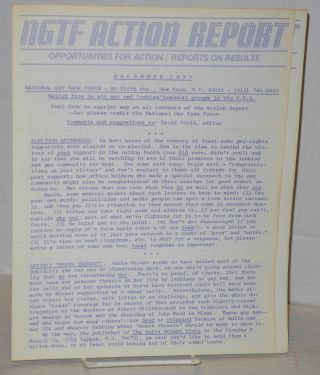 NGTF Action reports and open letter: December 1977 & January 1978 Action Reports & letter from December 1977