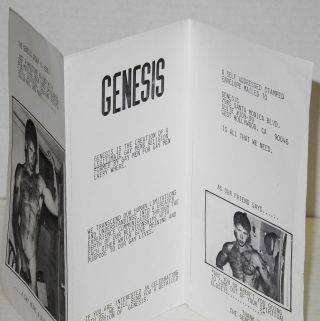 The Genesis Group is here! [handbill/brochure] just a wholesome friend with big muscles, rock hard shoulders, lats, deltoids, bulging biceps, solid abs, and more....a gay heart & soul