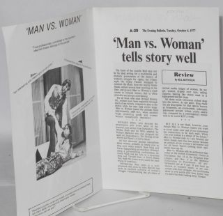 The Group Theater Co. presents a live multi-media and dramatic presentation 'Man vs. Woman' history of women's struggle for rights [playbill]