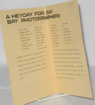 The Gay Decade in review: a heyday for gay Bay photographers [program] Art Central 330 Grove