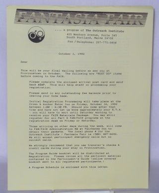 Fantasia Fair.... a program of The Outreach Institute [letter] October 1, 1992. Ari Kane