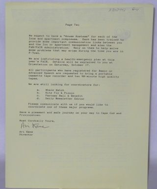 Fantasia Fair.... a program of The Outreach Institute [letter] October 1, 1992
